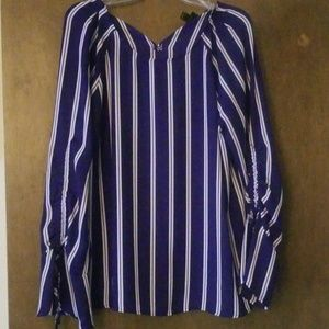 Blue and White Striped Chiffon Blouse